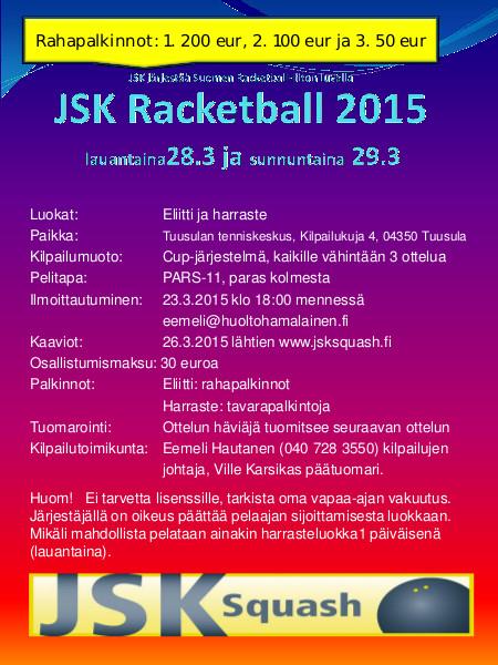 Kilpailukutsu JSK Racketball 2015