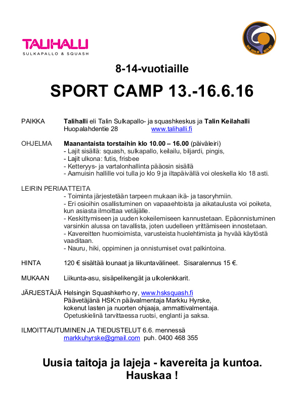 HSK liikuntaleiri 6-2016 kutsu HSK